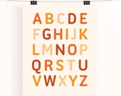 Alphabet poster - unisex nursery print - orange nursery art - sunshine colours - typography poster - kids wall art - baby shower gift