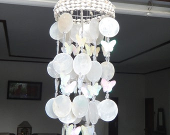 "White Capiz Shells Wind Chime Garden Decor / Beach Wedding Decor (25"")"