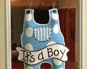 Baby boy burlap overall door or hospital door hanger