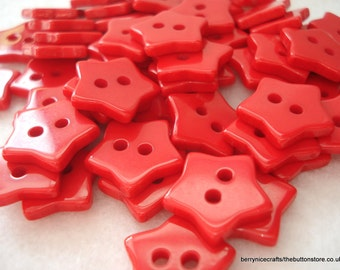 13mm Red Star Buttons Pack of 25 Red Resin Buttons Star2 Christmas Buttons