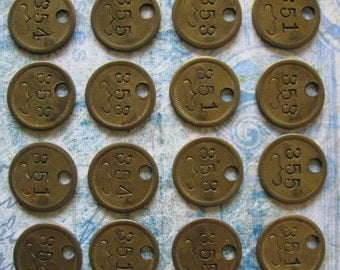 16 Antique Brass Numbered Jewelers Watch Tags Steampunk Jewelry Supplies Assemblage