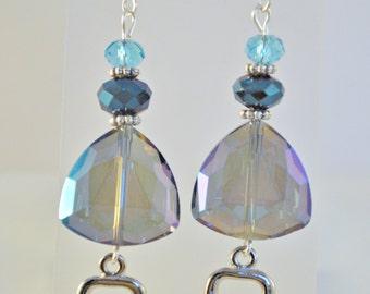 SALE - Cool Blue Glass Bead Earrings