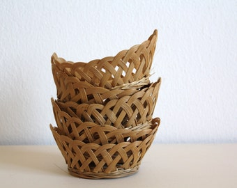 SALE 50 OFF Vintage Wicker Small Baskets Handmade Little Storage Baskets Home Decor Craft Supplies