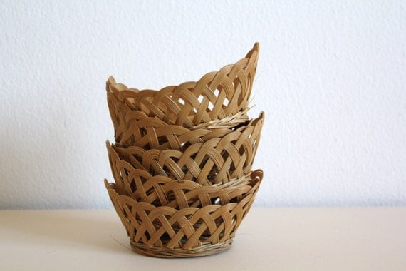 Handmade Basket Kits : Items similar to sale off vintage wicker small baskets