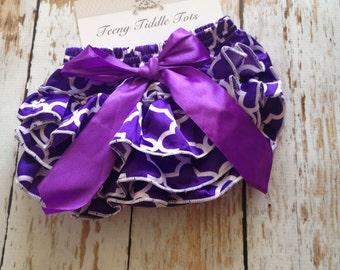 Purple Quatrefoil Satin Ruffle Diaper Cover-Ruffled Diaper Cover - Satin Diaper Cover - Purple Ruffle Diaper Cover