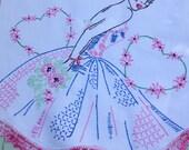 Gorgeous 1950s Glamour Girl Crinoline Dress, Runner, Dresser Scarf, Crocheted Edge