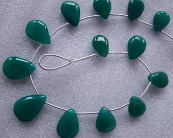 Green Onyx Plain Polished Pear shape