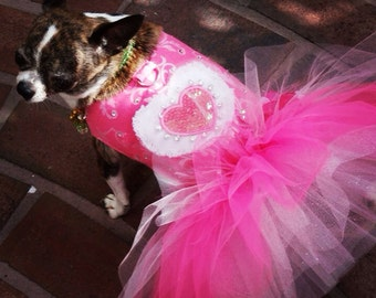 Love Roses Pink Tutu Swarovski Couture Dress for Luxury Pets