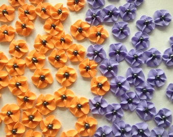 100 Orange and Purple Royal Icing Flowers