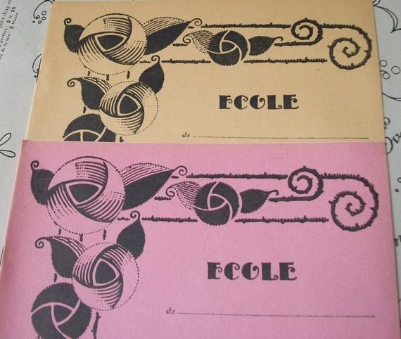 French School Book Cover : Pair of vintage french s school exercise by