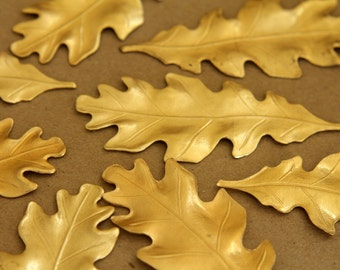 3 pc. Large Raw Brass Oak Leaves: 71mm by 29mm - made in USA | RB-251
