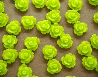 30 pc. Glossy Chartreuse Rose Cabochon 10mm | RES-379