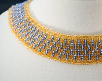 Blue Gold Beaded Collar Necklace, Bead Weaving Necklace, Gold Collar Necklace, Cleopatra Necklace
