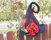 Halloween Witch hat black red felted with felt wool flower rose orange brooch sauna cap tribal Valentine New year Christmas carnival