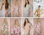 IVORY TOWER. 8 custom bridesmaids robes or dressing gowns in rustic floral prints and pastel colors.