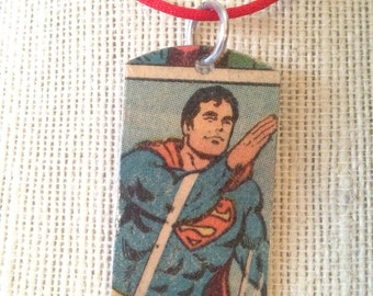 Vintage Superman Upcycled Comic Book Dog Tag, Includes Necklace or keychain