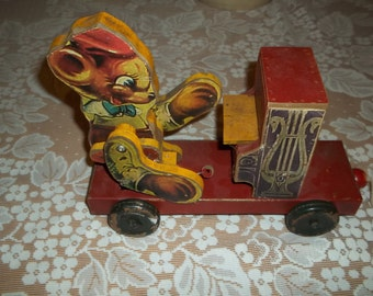 Vintage Wood and Tin Mouse Playing The Piano Pull Toy