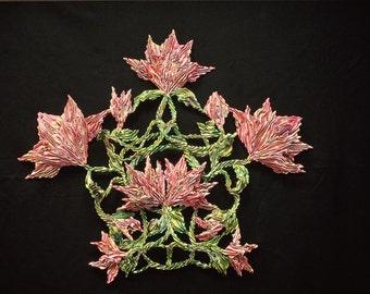 Waltz of the Flowers  * Shiboried Silk Wall Sculpture