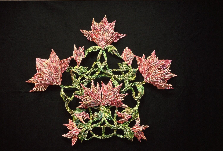 Waltz of the Flowers Shiboried Silk Wall Sculpture