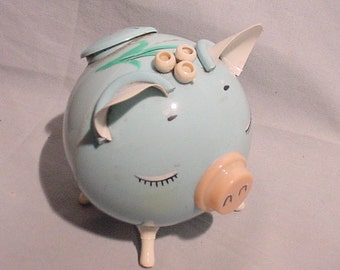 Cute as Can Be Piggy Pig Bank Blue Pink Plastic Vintage!