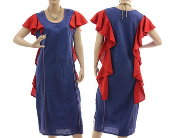 Blue boho linen party coctail dress, blue and red summer dress with flounces / lagenlook medium to large sized women M L, US size 10-12/14