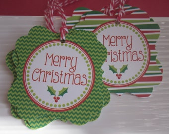 Merry Christmas / Red and Green / Holiday Gift tags / set of 6