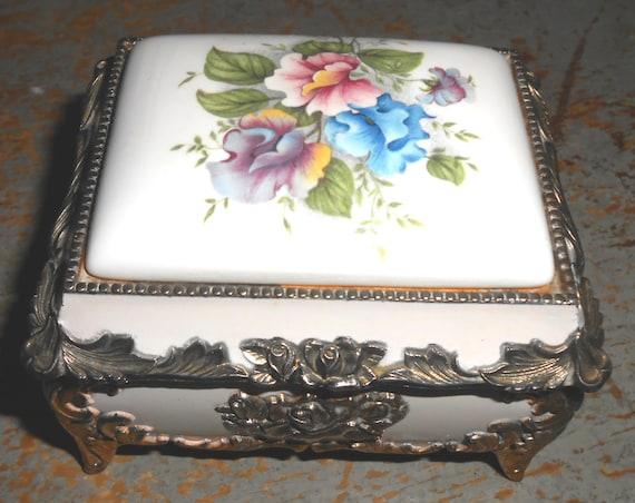 Vintage Music Box Mele Porcelain Floral Brass Gold