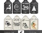 "Digital Download Chalkboard & Damask Christmas Tags - Digital Instant Download (8.5 ""x 11"" Sheet)  8 (2"" x 3.5"" Tags)  Digital Gift Tags"