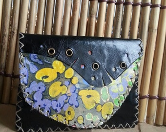 100% Handmade leather purse with acrylic manual painting
