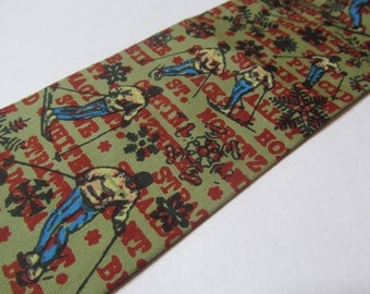 Vintage Mens Tie 1960s Square End Neckie - Rooster Sun Fabrics Winter Ski Theme Novelty Print Vintage Mens Tie