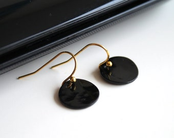 Black mother of pearl earrings, little disc earrings, small SILVER/GOLD earrings, simple everyday jewelry.