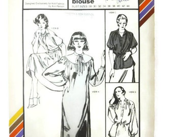 Vintage Pattern 1592 Stretch and Sew Ann Person Chemise Gathered Dress and Blouse 1979 UNCUT