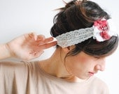 Lace Headband with Lace Flower on the Side - Womens Headbands, Head Bands Fabric Headband, Hair Turban Head Scarf Hair Wrap