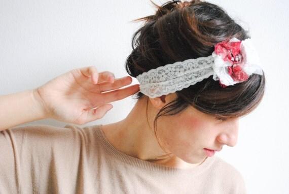 Lace Headband with Lace Flower on the Side - Womens Headbands, Head Bands Fabric Headband, Hair Turban Head Scarf Hair Wrap