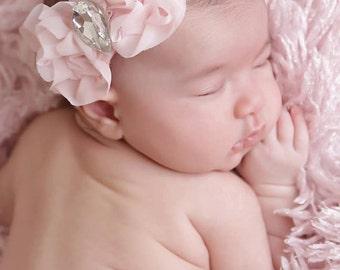 Ruffled fabric Headband, Swarovski Rhinestone headband, Toddler headband, infant photography, baby girl photo prop, pink headband, soft band