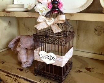 Rustic Wedding Card Box,Wedding Birdcage, Personalized.