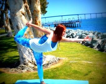 Yoga Leggings Tie Dye Ocean Blue