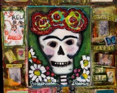 Frida Kahlo Skeleton, Original Painting -- Fly