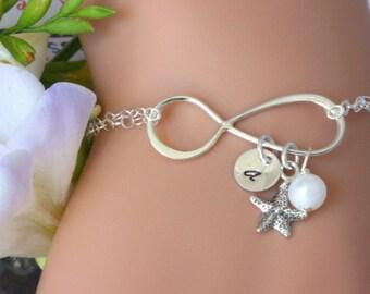 Starfish Bracelet, Sterling Silver  Infinity Starfish Bracelet, Intial starfish Bracelet, Persaonalized Initial Bracelet,Infinitiy  Bracelet