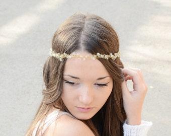 Bridal Hair Crystal Tiara,Wire Wrapped Glass Crystal Halo Wedding Crown Headband, wedding headband hair piece, special occasion accessory