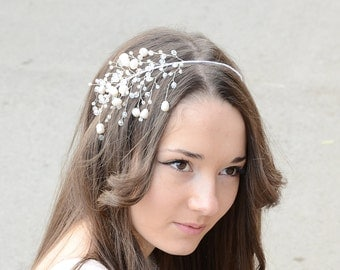 Bridal Hair Accessory, Freshwater Pearls and Crystal Tiara, Wedding crystal headband, Hair piece, Bridal Crown, Crystal Tiara