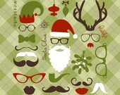 Digital Christmas Photo Booth Props. Santa Hat and Beard, Mustache, Spectacles, Lips, Rudolph Antlers, nose. Individual clip art elements