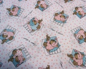 45 X 110 Turquoise and Pink Sleepy Bear Print Cotton Flannel Fabric Remnant