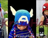 Crochet SuperHero hats.Batman,Spiderman,SuperMan,Captain America.Made to order.