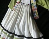girls highwaist dress and reversible  shrug classic sz 6 8 Easter fullskirt with beads and contrasting panels shrug reverses black to green