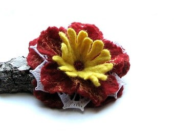 RED Flower Brooch , Felted Jewelry Gift For Her