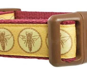 """Bee 1"""" Cotton Dog Collar Maroon Dog Collar"""