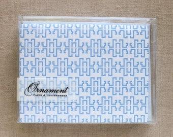 Blue Lattice Letterpress Card Set