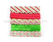 "25 yards 5/8"" Xmas Fold Over Elastic Set B - Printed/Plain - 5 Yards Each Color/Printed - See Photo 2 for Color Chart"