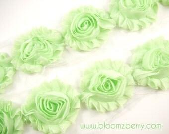 "2.5"" Shabby Rose Trim - Light Mint Color - Chiffon Trim - Hair Accessories Supplies"